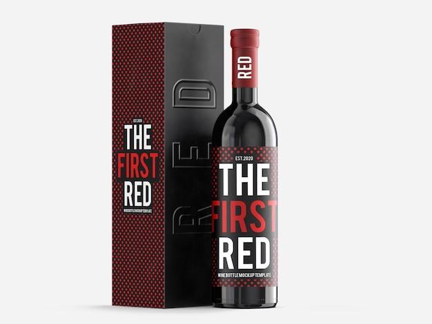 Modelo de maquete de vinho tinto com caixa de presente
