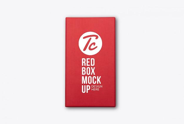 Modelo de maquete de vista superior de embalagem de produto de caixa vermelha para seu projeto