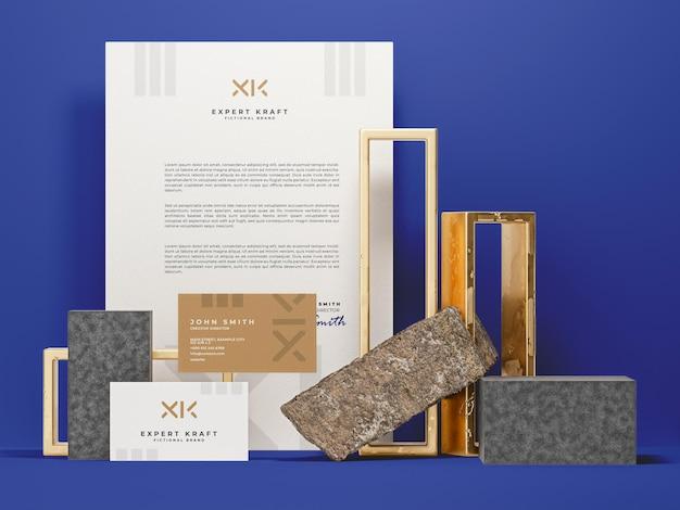 Modelo de maquete para artigos de papelaria modernos e luxuosos Psd Premium