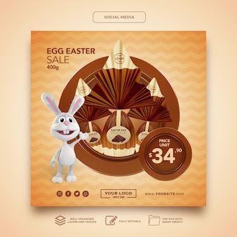 Modelo de maquete para mídia social coelho coelho de chocolate