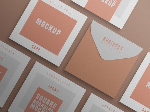 Modelo de marca quadrada com cartão de visita e envelope