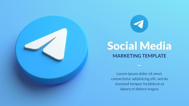 Modelo de marketing de telegrama com renderização 3d isolada do ícone do aplicativo