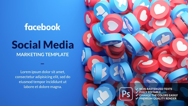 Modelo de marketing do facebook em renderização 3d