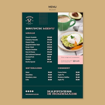 Modelo de menu com brunch