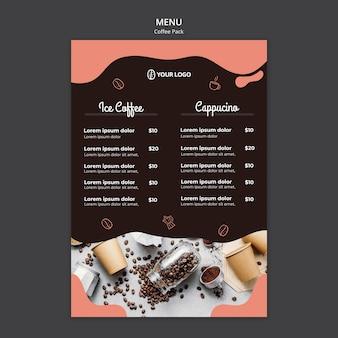 Modelo de menu com design de café