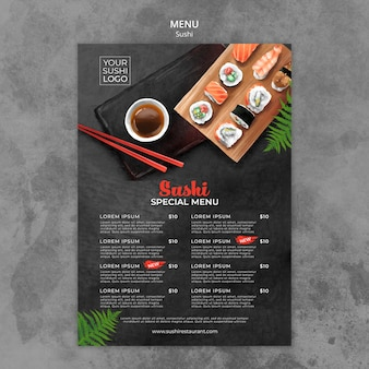 Modelo de menu com design de dia de sushi