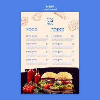 Modelo de menu com o conceito de comida americana