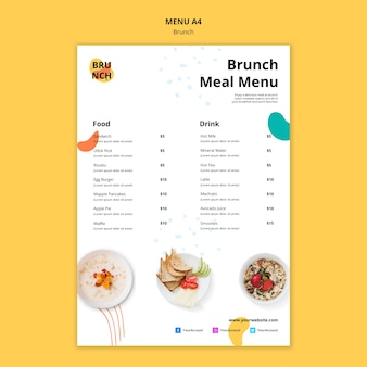 Modelo de menu com tema de brunch