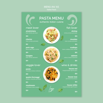 Modelo de menu com tema de comida italiana
