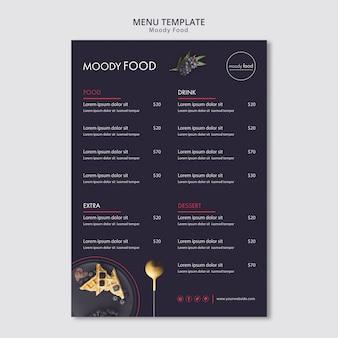 Modelo de menu criativo de comida temperamental