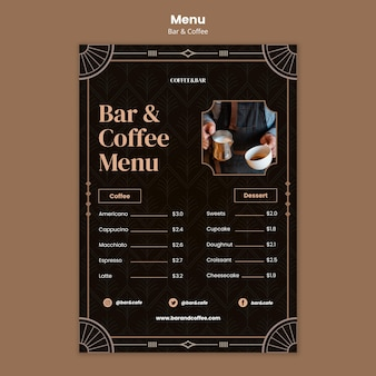 Modelo de menu de bar e café