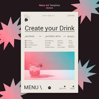 Modelo de menu de bebidas