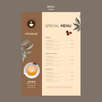 Modelo de menu de café delicioso