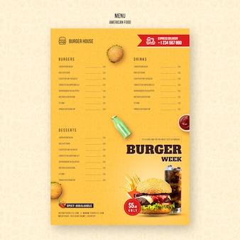 Modelo de menu de comida americana