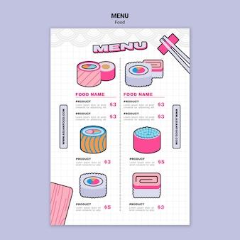 Modelo de menu de comida asiática