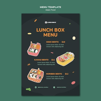 Modelo de menu de comida asiática Psd grátis