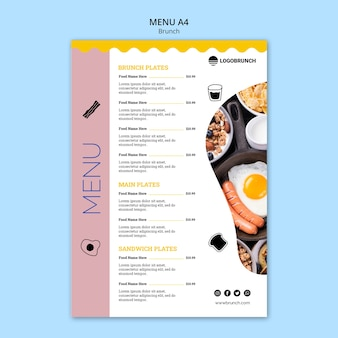 Modelo de menu de comida de brunch de domingo