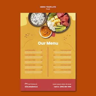 Modelo de menu de comida deliciosa