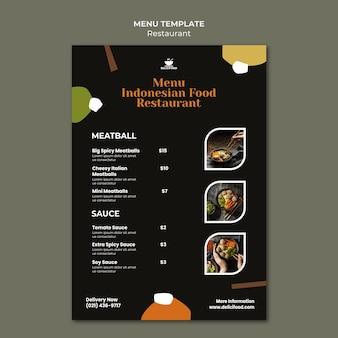Modelo de menu de comida indonésia