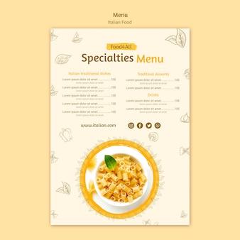 Modelo de menu de comida italiana