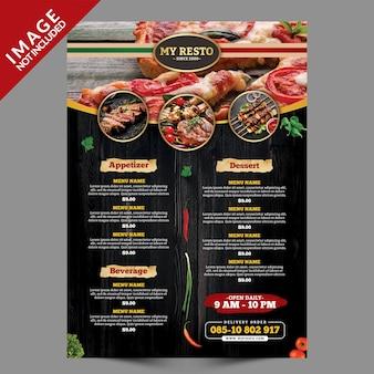Modelo de menu de comida vintage escuro