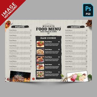 Modelo de menu de comida