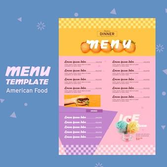 Modelo de menu de conceito de comida americana
