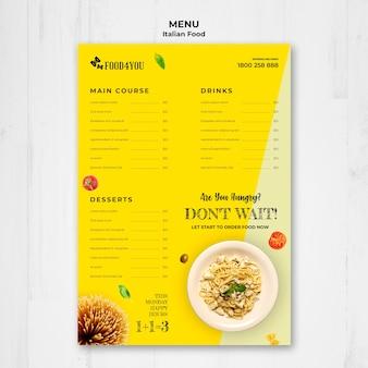 Modelo de menu de conceito de comida italiana