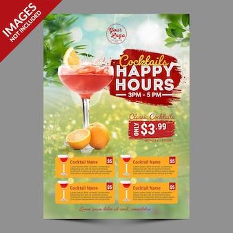 Modelo de menu de coquetéis freshhappy hours