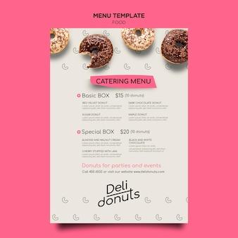 Modelo de menu de donuts deliciosos