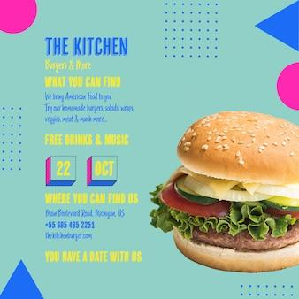 Modelo de menu de hambúrguer de cozinha saborosa