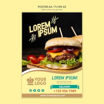 Modelo de menu de panfleto de restaurante com hambúrguer