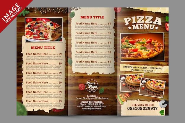 Modelo de menu de pizza com três dobras
