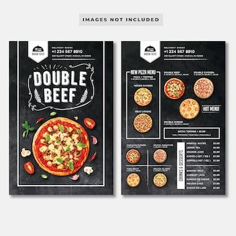 Modelo de menu de pizza de quadro-negro