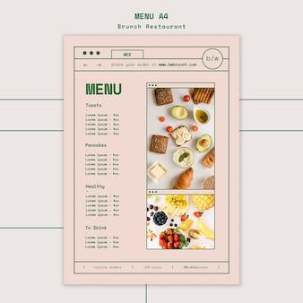 Modelo de menu de restaurante brunch