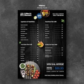 Modelo de menu de restaurante de comida grelhada e legumes
