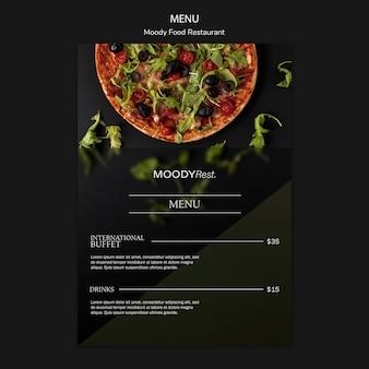 Modelo de menu de restaurante de comida temperamental