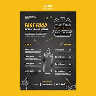 Modelo de menu de restaurante de fast food