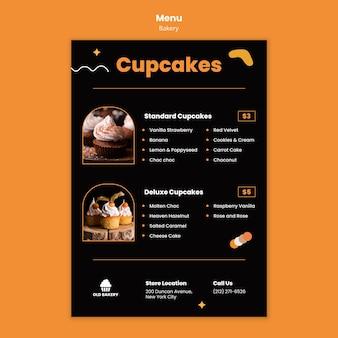 Modelo de menu de restaurante de padaria