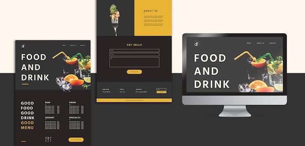 Modelo de menu de restaurante de papelaria