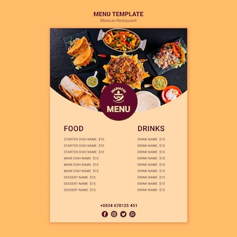 Modelo de menu de restaurante de pratos tradicionais mexicanos