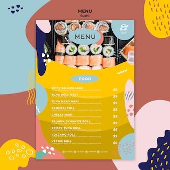 Modelo de menu de restaurante de sushi criativo