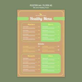 Modelo de menu de restaurante saudável
