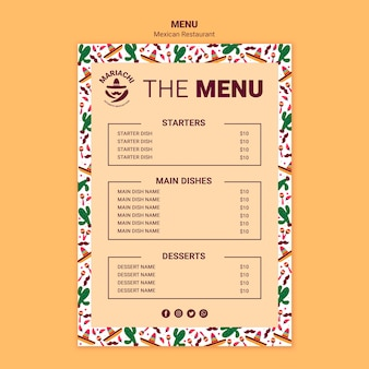 Modelo de menu de restaurante tradicional mexicano