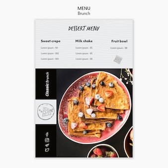 Modelo de menu de sobremesa conceito brunch