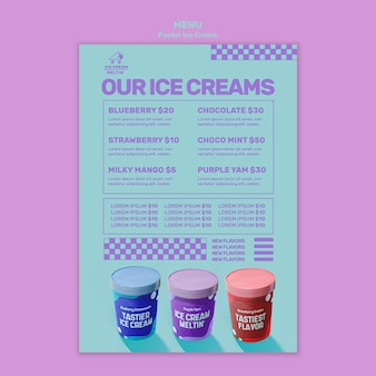Modelo de menu de sorvete pastel com foto
