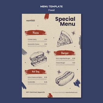 Modelo de menu de venda de comida
