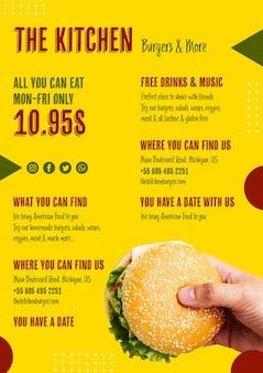 Modelo de menu delicioso hambúrguer americano