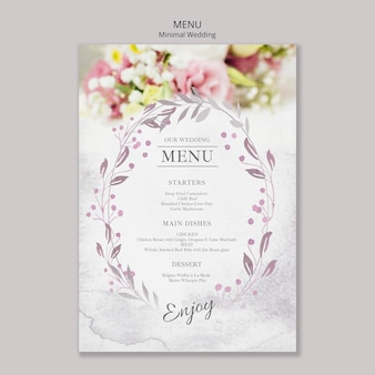 Modelo de menu floral casamento mínimo