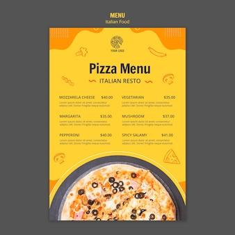 Modelo de menu para bistrô de comida italiana